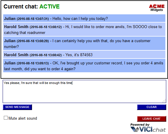 Chat customer screenshot