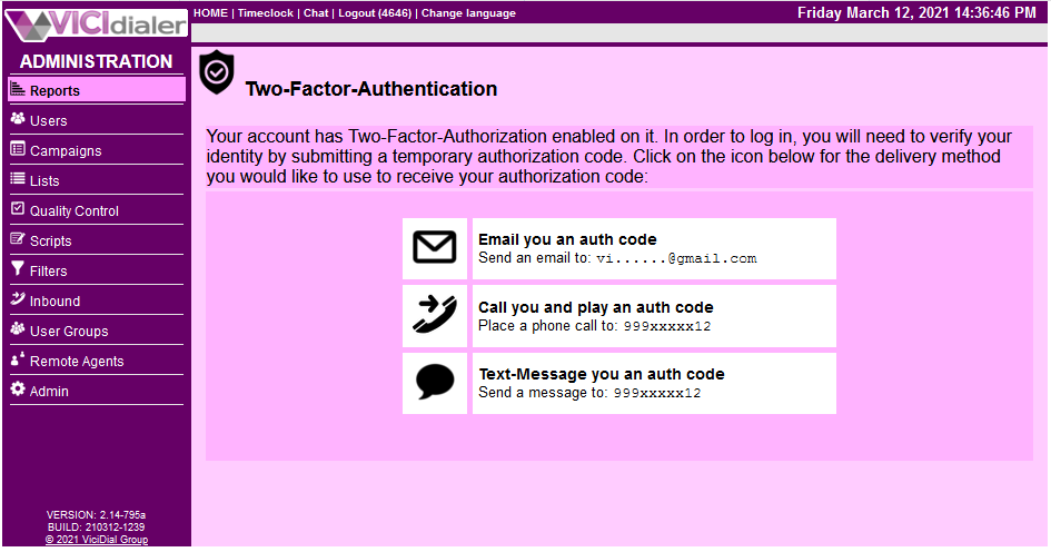 Two-Factor auth screen